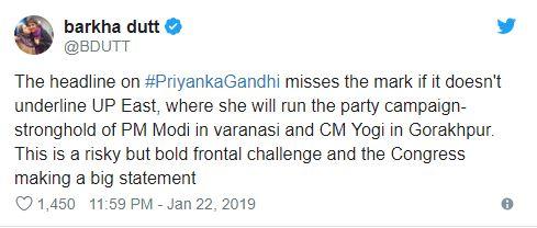Barkha Dutt tweet on Priyanka Gandhi