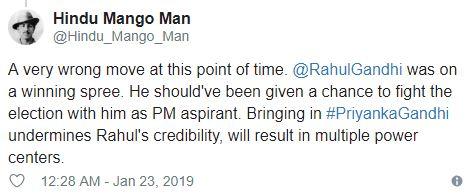 Hindu mango man tweet on Priyanka Gandhi