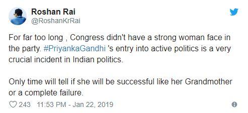 Roshan Rai tweet on Priyanka Gandhi
